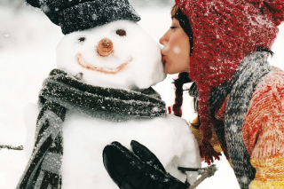 Girl Kissing The Snowman Background for Android, iPhone and iPad