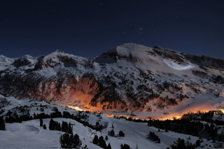 Snowy Mountains Sky Resort Wallpaper for Android, iPhone and iPad