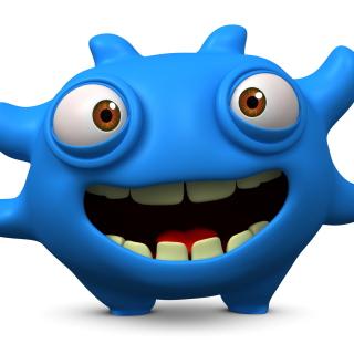 Cute Blue Cartoon Monster - Obrázkek zdarma pro iPad 3
