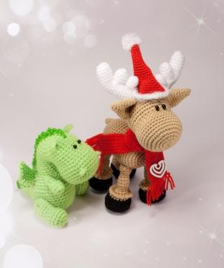 Christmas Dino And Reindeer - Obrázkek zdarma pro Nokia Asha 202