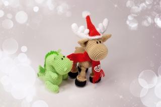 Christmas Dino And Reindeer - Obrázkek zdarma pro 480x400