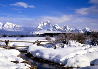 Grand Tetons in Winter, Wyoming Background for Android, iPhone and iPad