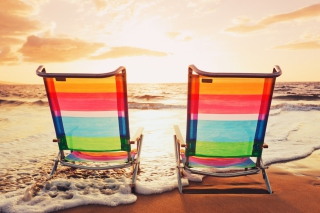 Beach Chairs Background for Android, iPhone and iPad