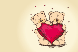 Valentine's Teddy Bears Wallpaper for Android, iPhone and iPad