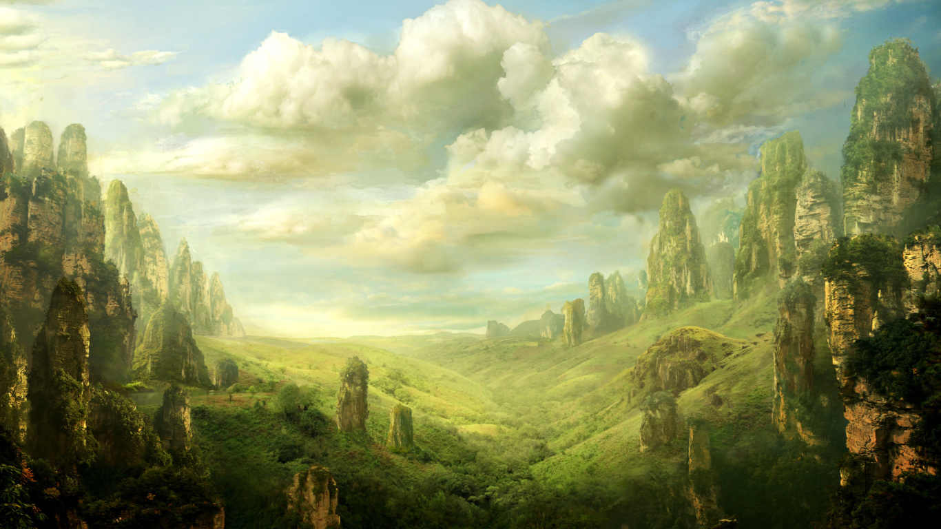 Fantasy Landscape Wallpaper for Desktop Netbook 1366x768 HD