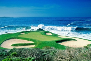 Golf Field By Sea Picture for Android, iPhone and iPad