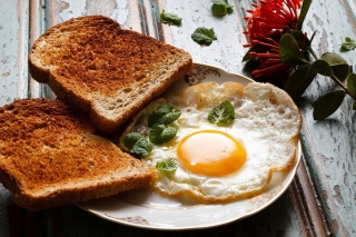 Breakfast with toast and scrambled eggs Background for Android, iPhone and iPad