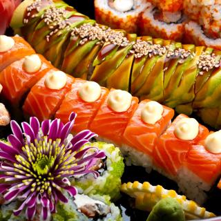 Seafood Salmon Sushi - Obrázkek zdarma pro 2048x2048
