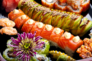 Seafood Salmon Sushi Wallpaper for Android, iPhone and iPad