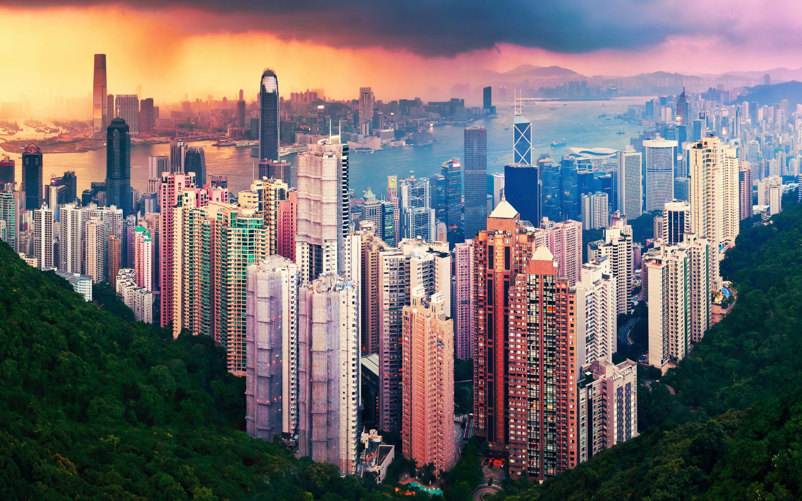 страны архитектура ночь Гонконг  № 1481743  скачать