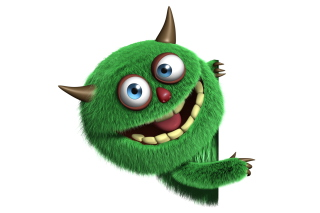 Fluffy Green Monster Wallpaper for Android, iPhone and iPad