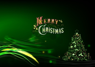 Green Merry Christmas Picture for Android, iPhone and iPad