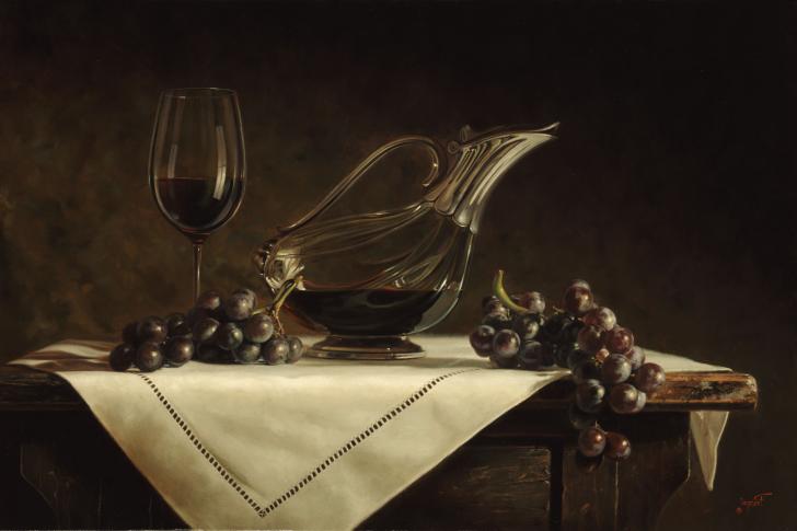 Still life grapes and wine wallpaper