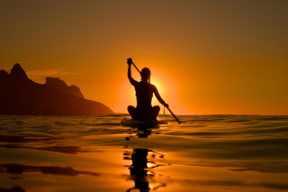 Sunset Surfer Background for Android, iPhone and iPad