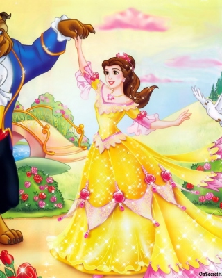 Beauty and the Beast Disney Cartoon - Obrázkek zdarma pro 750x1334