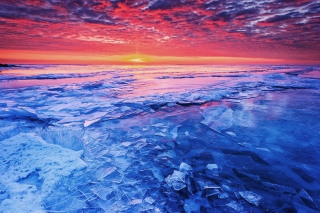 Sunset And Shattered Ice Picture for Android, iPhone and iPad