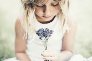 Blonde Girl With Little Lavender Bouquet Background for Android, iPhone and iPad