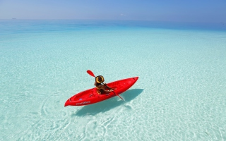 Red Kayak And Transparent Water Wallpaper for Android, iPhone and iPad