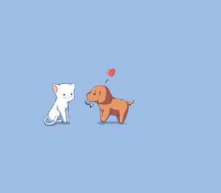 Dog And Cat On Blue Background - Obrázkek zdarma pro iPad