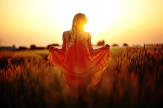 Sunset Girl Background for Android, iPhone and iPad