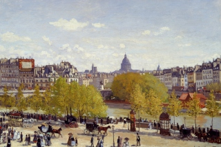 Claude Monet - Quai du Louvre Background for Android, iPhone and iPad