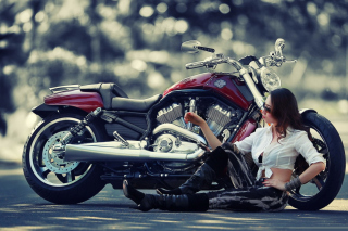 Girl And Her Motorcycle Background for Android, iPhone and iPad