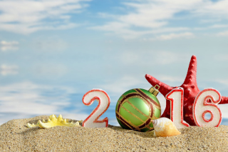 New Year 2016 Beach Theme Background for Android, iPhone and iPad