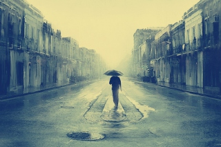 Man In Rain Painting Wallpaper for Android, iPhone and iPad