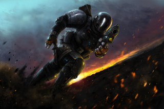 Warrior after explosion Background for Android, iPhone and iPad