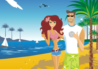 Love On The Beach Background for Android, iPhone and iPad