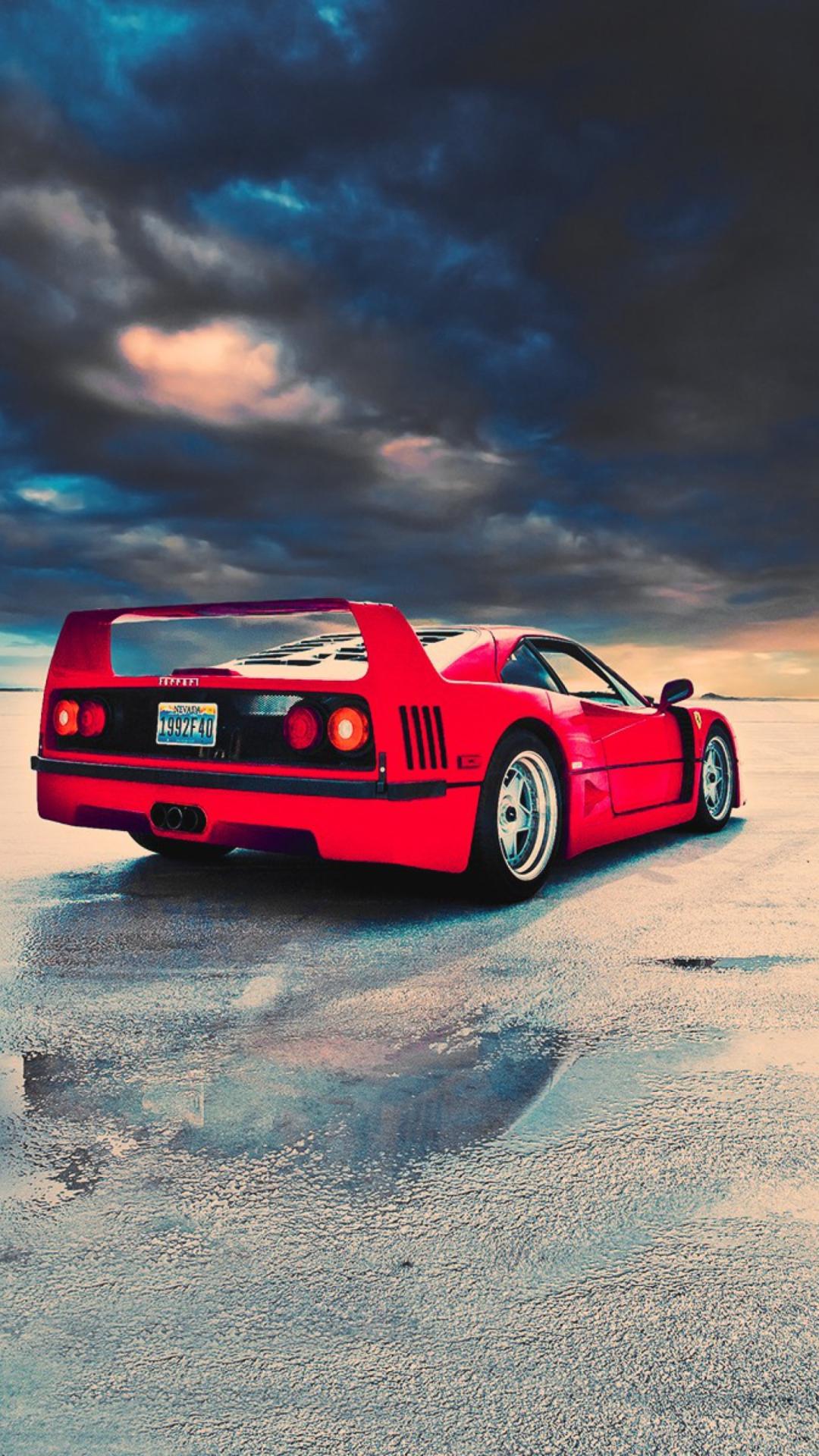 Red Ferrari F40 Rear Angle Wallpaper For 1080x1920