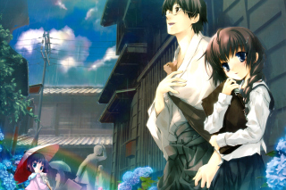 Anime Girl and Guy with kitten - Obrázkek zdarma pro Fullscreen Desktop 1400x1050