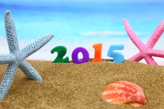 Happy New Year 2015 on Beach Picture for Android, iPhone and iPad