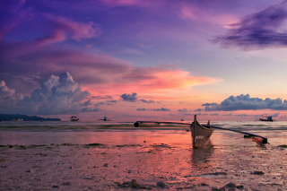 Pink Sunset And Boat At Beach In Philippines Picture for Android, iPhone and iPad