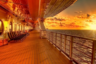 Sunset on posh cruise ship Wallpaper for Android, iPhone and iPad