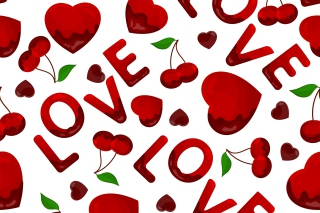 Love Cherries and Hearts Wallpaper for Android, iPhone and iPad