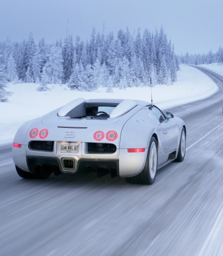 Bugatti Veyron In Winter - Obrázkek zdarma pro 480x800