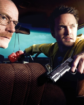 Jessie Pinkman Aaron Paul and Walter White Bryan Cranston Heisenberg in Breaking Bad - Obrázkek zdarma pro 176x220