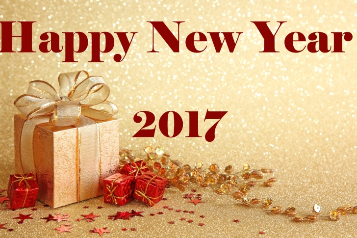 Happy New Year 2017 with Gifts wallpaper