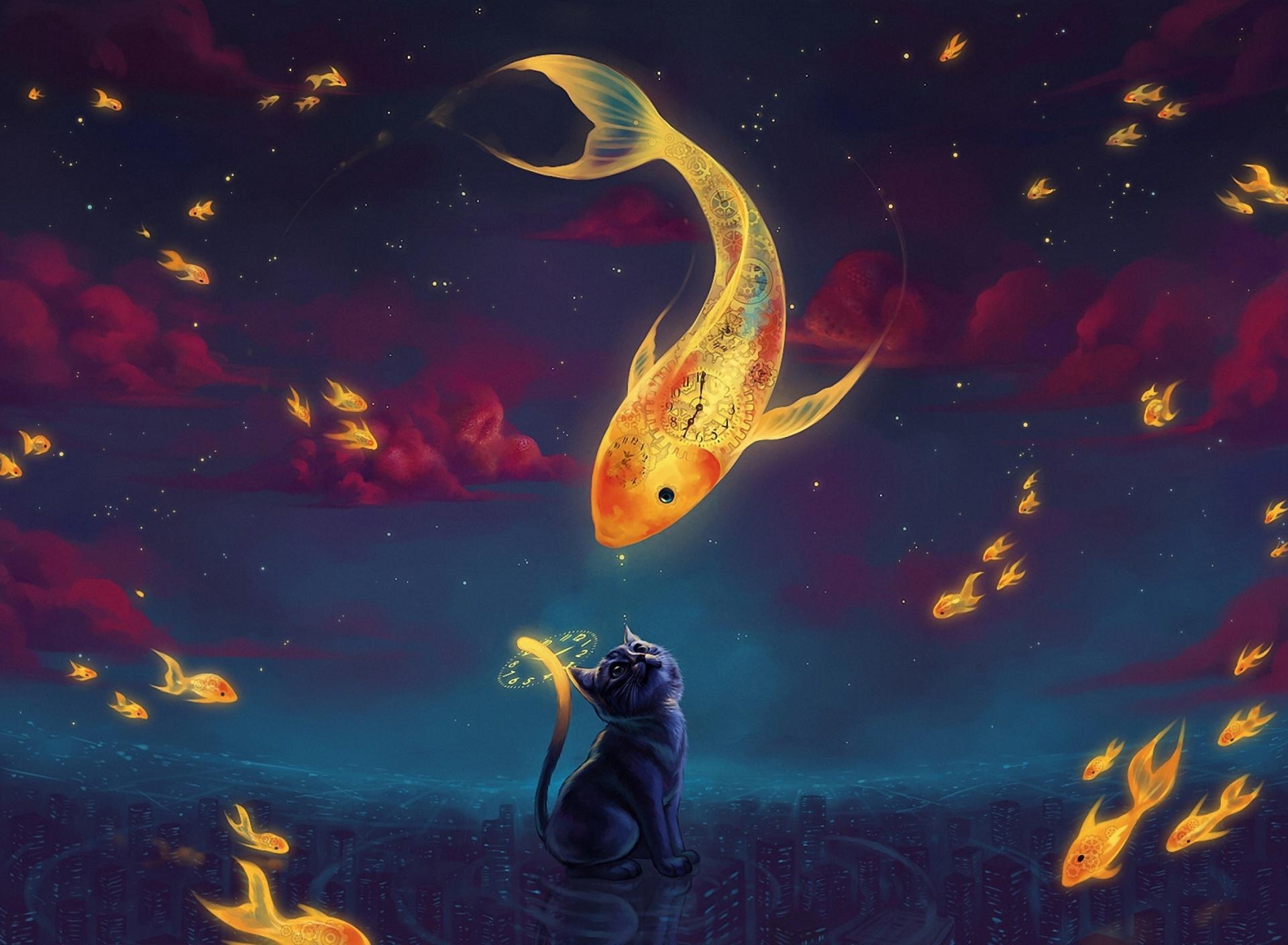 Черный котенок с золотой рыбкой  № 2955098 бесплатно