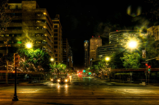 Free Houses in Austin HDR Night Street lights in Texas City Picture for Android, iPhone and iPad