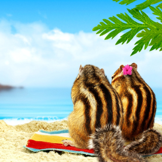 Chipmunks on beach - Obrázkek zdarma pro 128x128