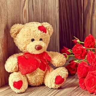 Brodwn Teddy Bear Gift for Saint Valentines Day - Obrázkek zdarma pro 1024x1024
