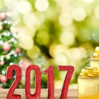 2017 New Year with Gold Gift - Obrázkek zdarma pro 1024x1024