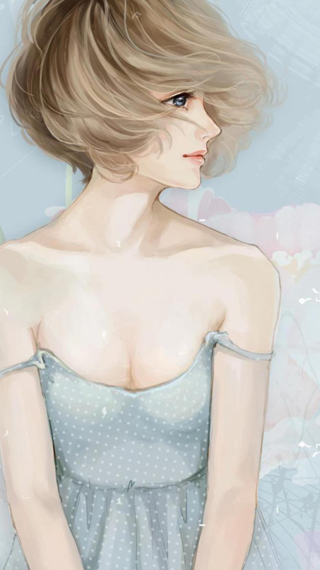 Screenshot №1 pro téma Pastel Tones Drawing Of Girl 1080x1920