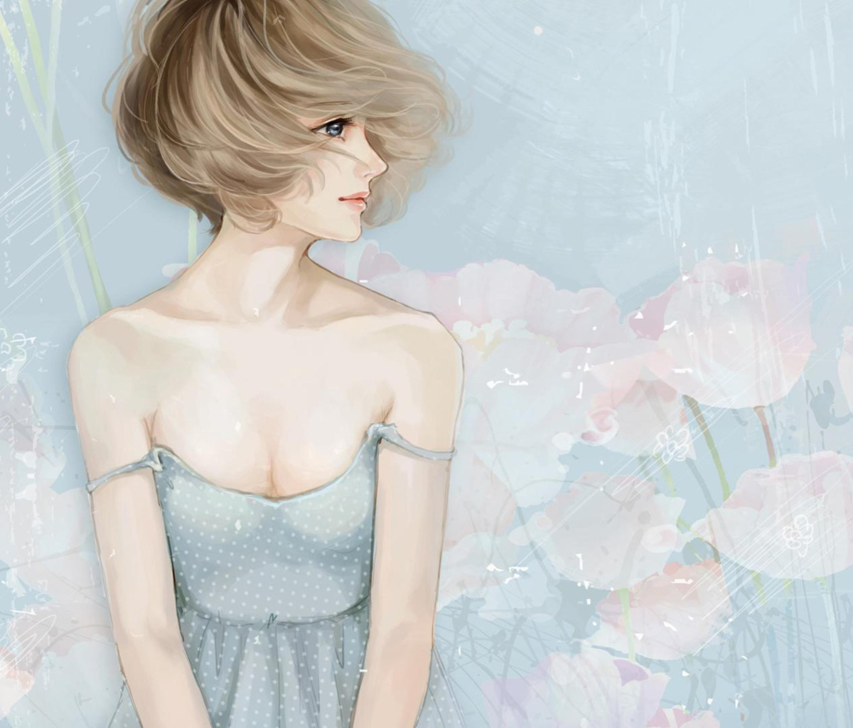 Screenshot №1 pro téma Pastel Tones Drawing Of Girl 1200x1024