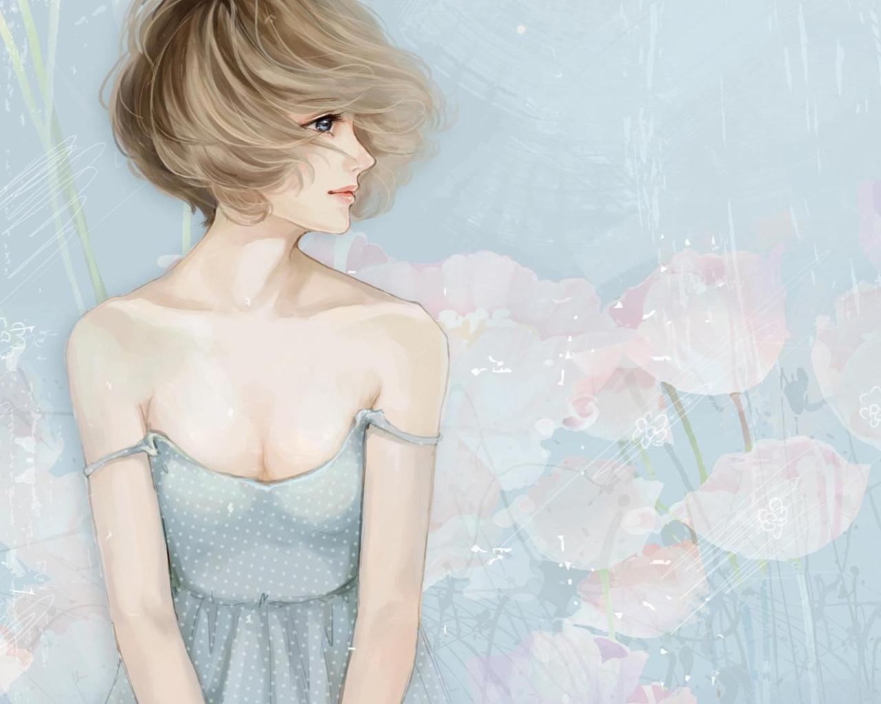 Screenshot №1 pro téma Pastel Tones Drawing Of Girl 1280x1024