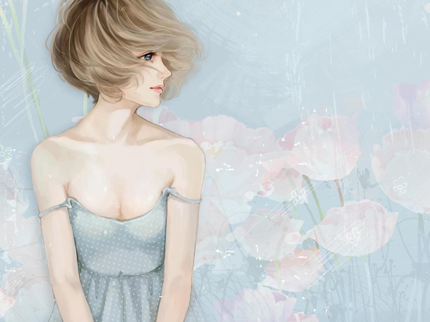 Screenshot №1 pro téma Pastel Tones Drawing Of Girl 1400x1050
