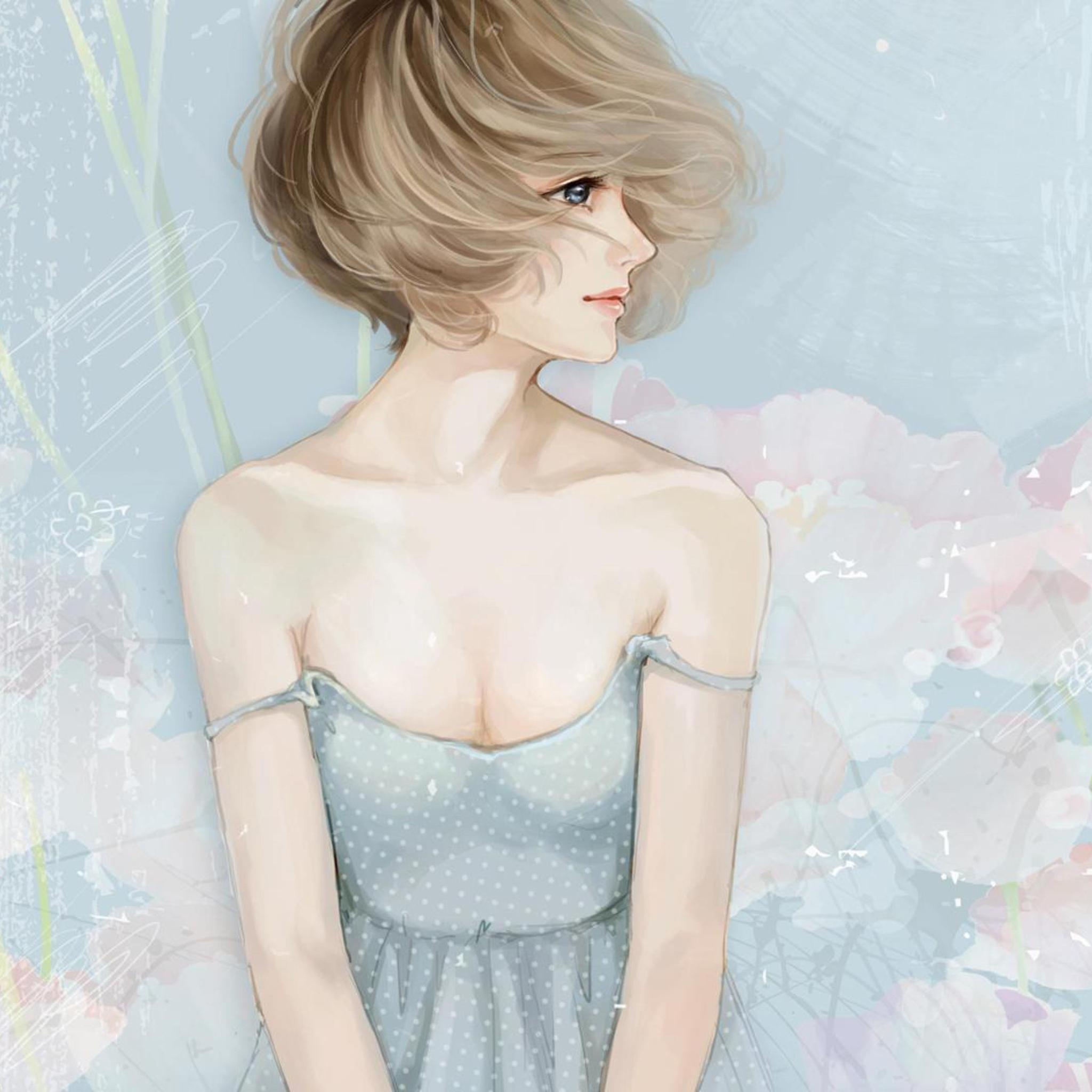 Screenshot №1 pro téma Pastel Tones Drawing Of Girl 2048x2048
