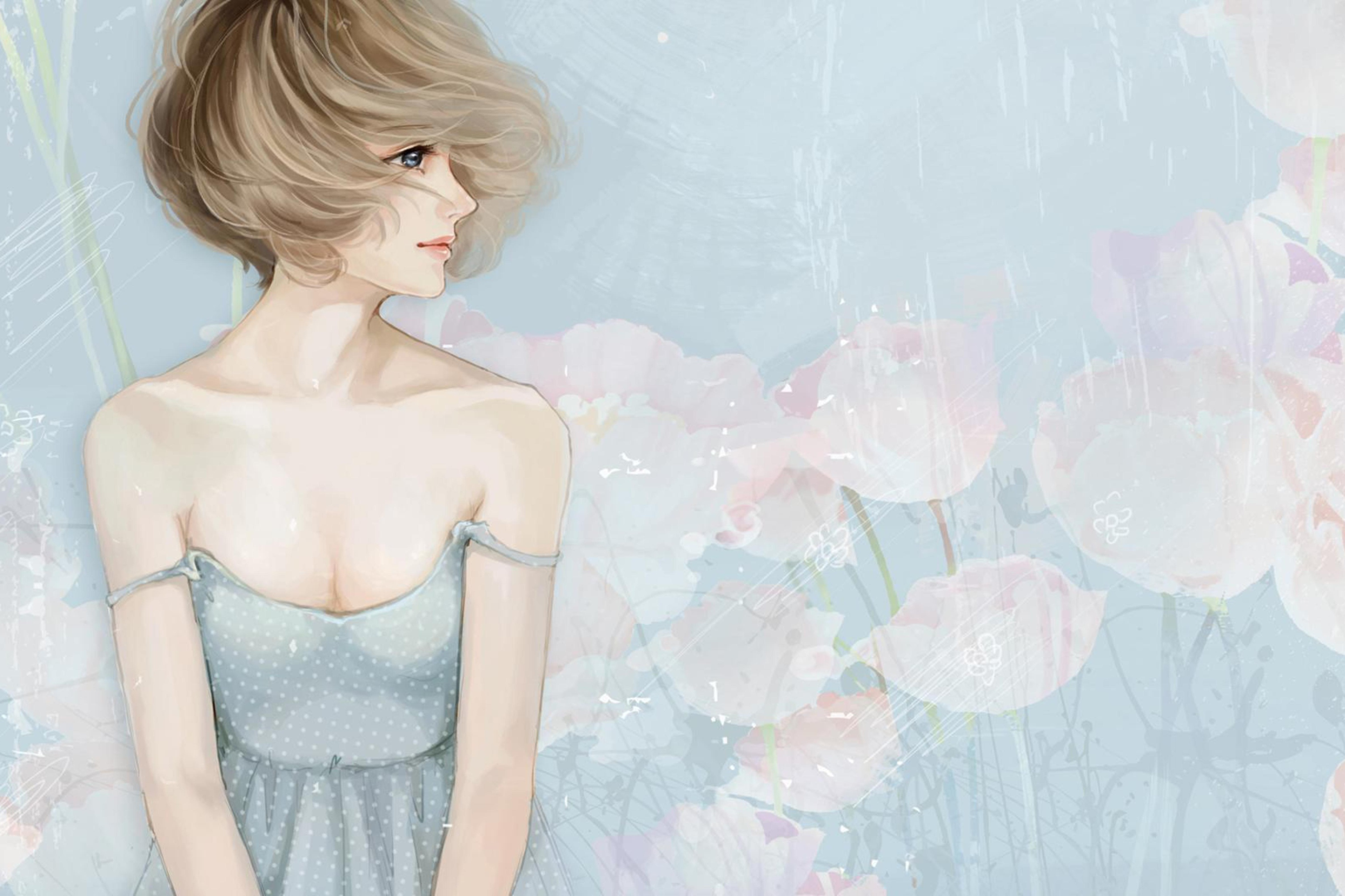 Screenshot №1 pro téma Pastel Tones Drawing Of Girl 2880x1920